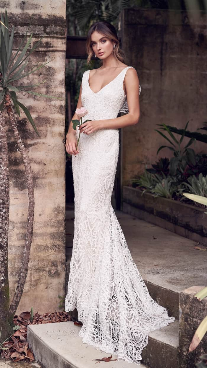 Long lace v neck wedding dress