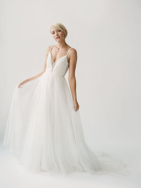 Lace and tulle wedding dress by Truvelle | Vicki