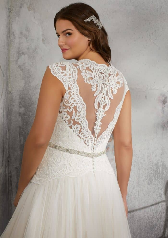 Lace back plus size wedding dress cap sleeves | Julietta by Morilee style 3242