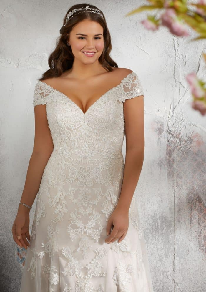 Lilith wedding dress lace off the shoulder v neck plus size wedding dress