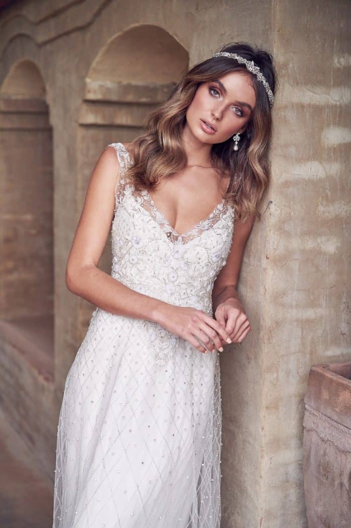 Paige is an embellished boho wedding dress by Anna Campbell Wanderlust