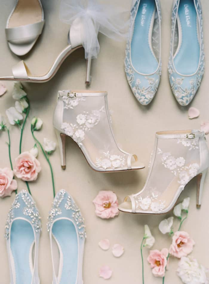 Handcrafted designer lace wedding booties
