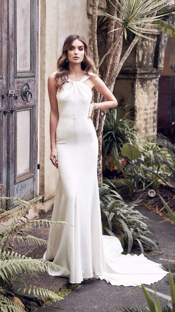 Twist neck style silk modern wedding dress | Rebekah Dress