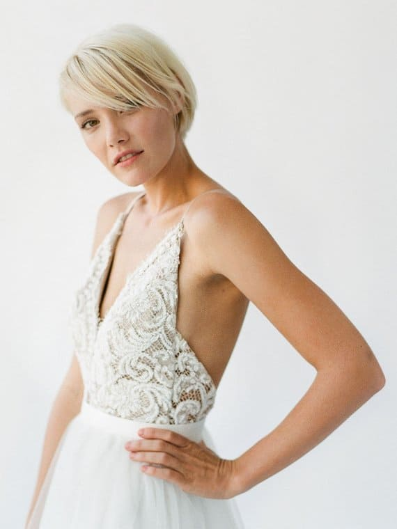Sara lace top spaghetti strap wedding dress Truvelle