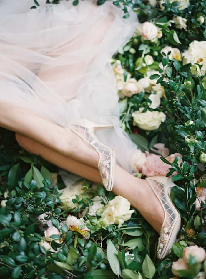Gorgeous sheer ivory mesh bridal shoes