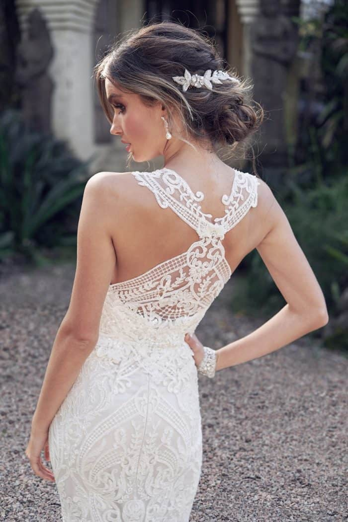Wedding dress with lace bodice and illusion back | Winter Dress by Anna Campbell