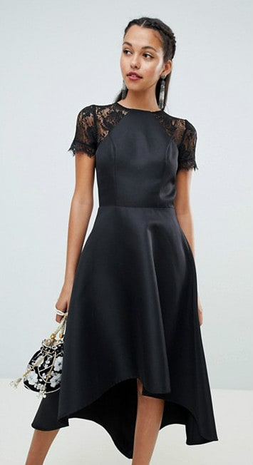 Chic black dress to wear to a wedding as a guest