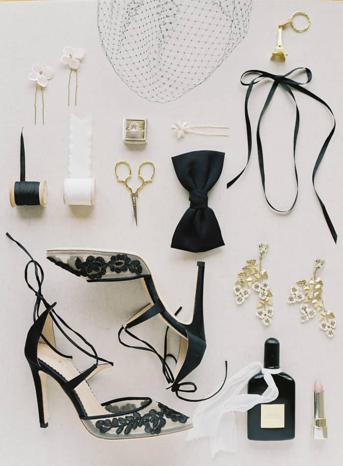 Black lace heels and wedding accessories
