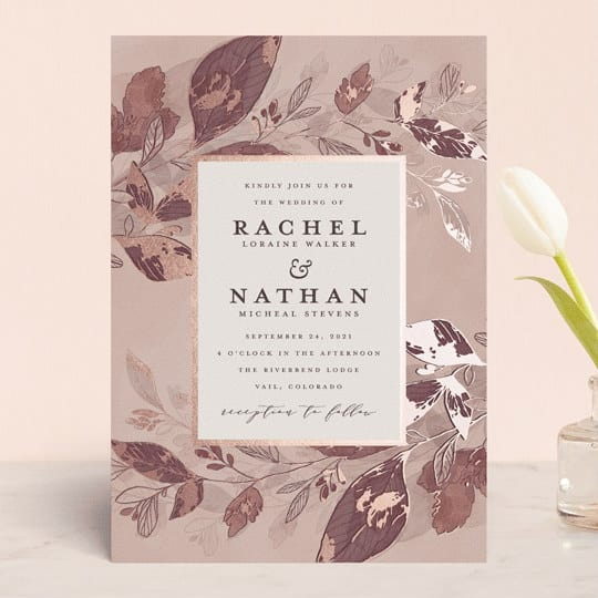 fall wedding invitation with leave motif