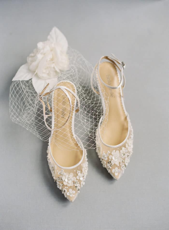 Handmade floral embellished wedding heels