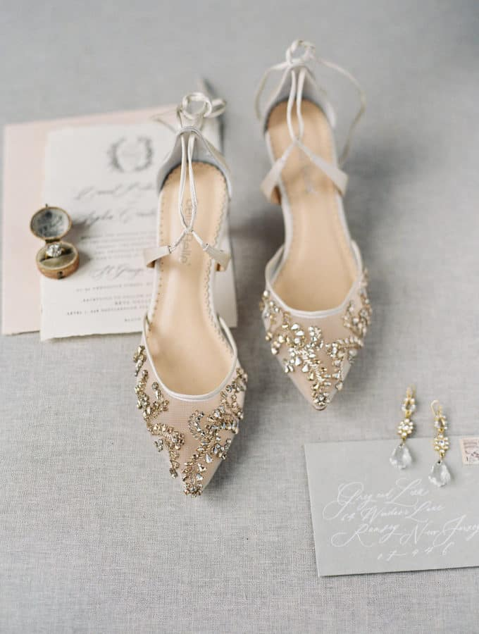 gold beaded wedding shoes