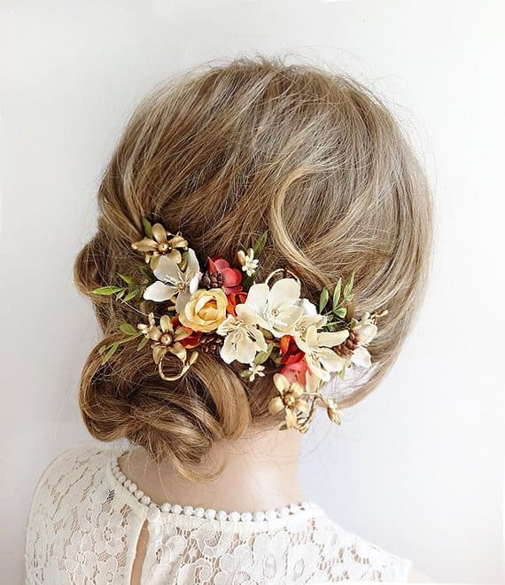 hair accessory for fall wedding bride