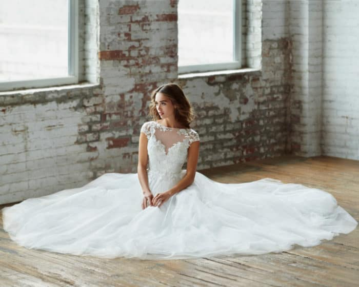 Jolie by Ti Adora | Ball gown wedding dress with short sleeves