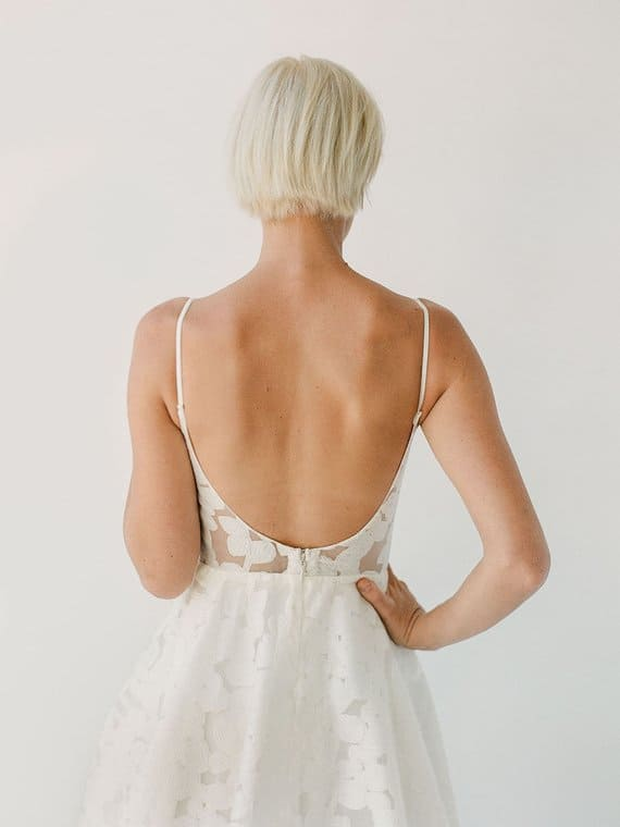 Open back floral wedding dress Annie by Truvelle