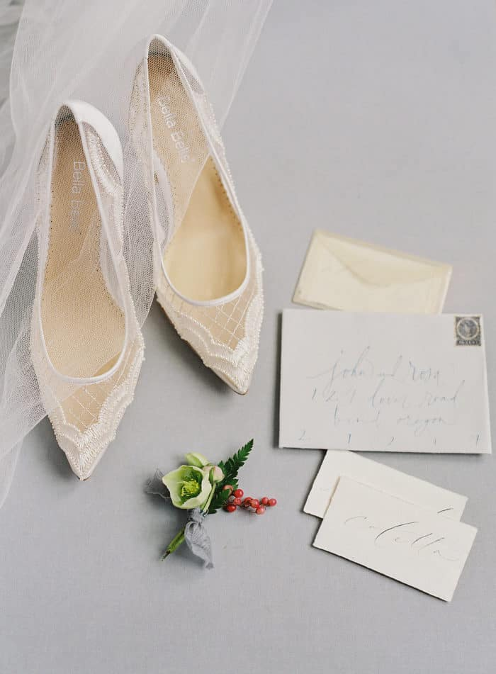 Sheer ivory mesh handmade wedding shoes