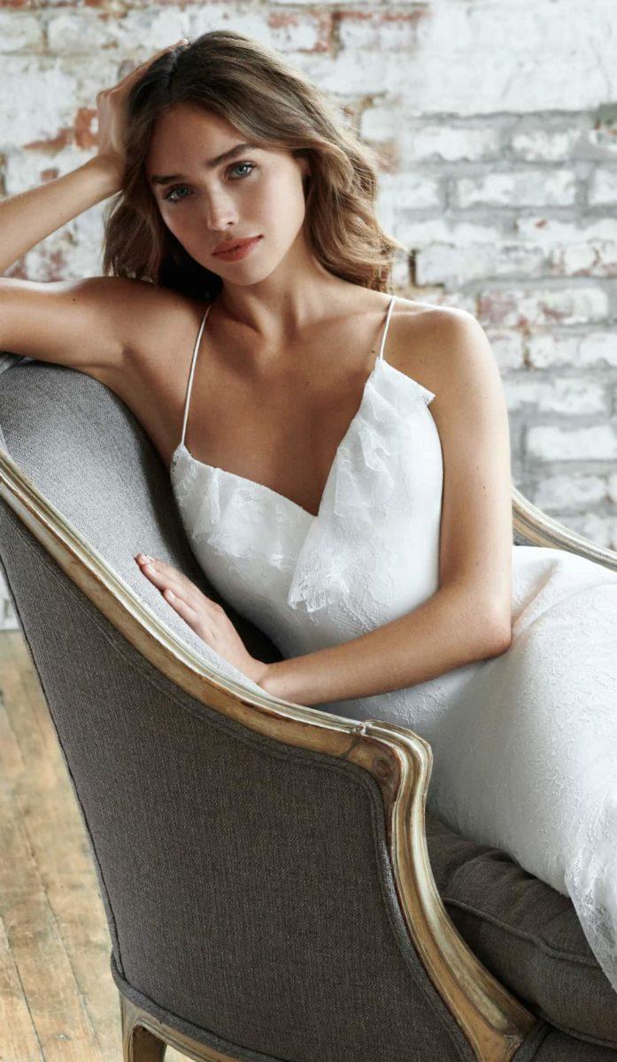Ruffle wrap style wedding dress by Ti Adora