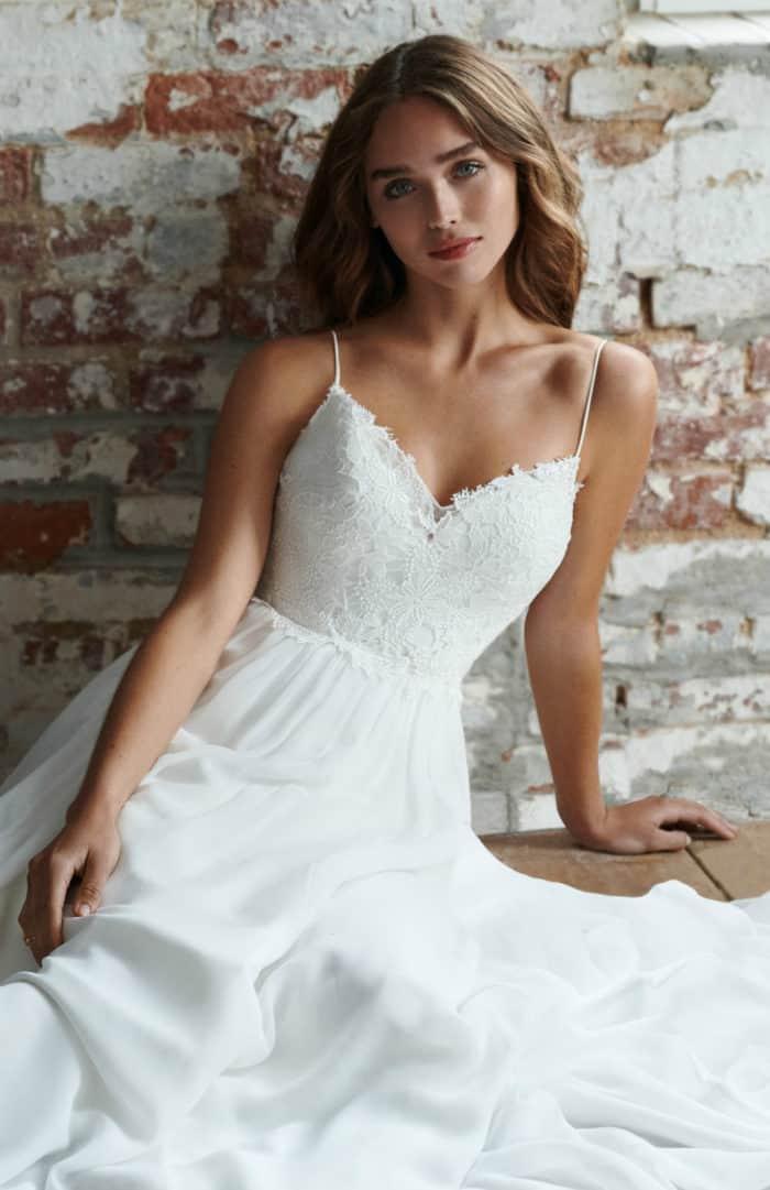 Lace wedding dress with spaghetti straps | Lyle Ti Adora wedding dresses Fall 2018