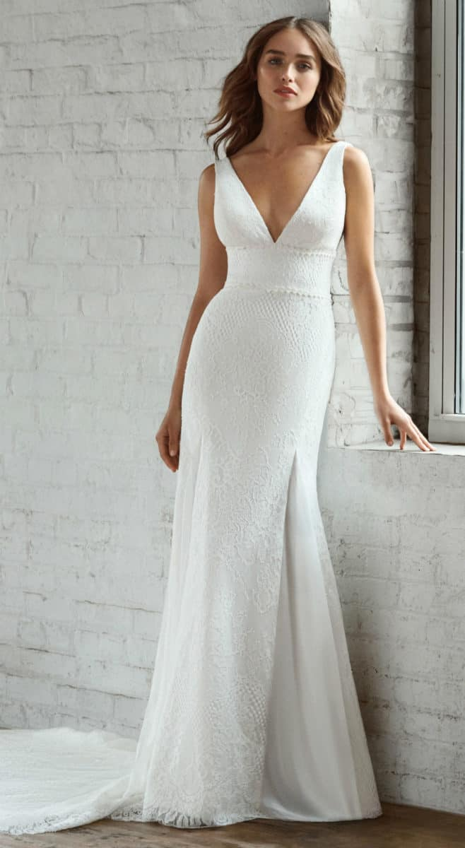 Plunge V neck all over lace wedding dress trumpet gown under 2000 | Liana by Ti Adora