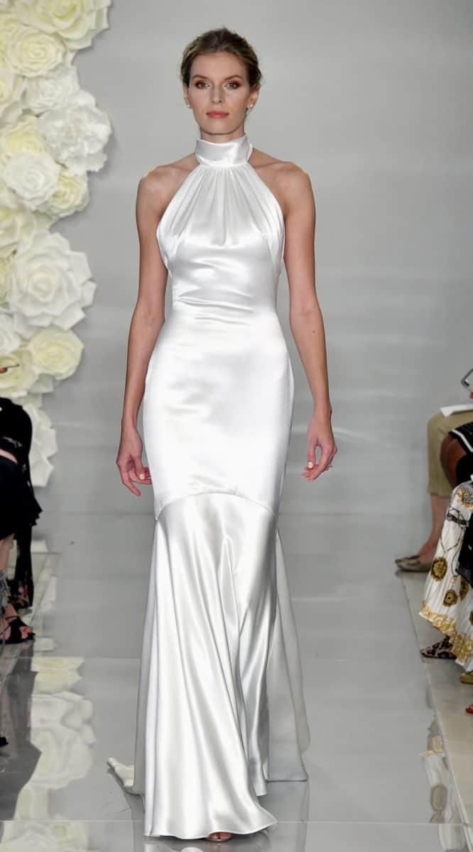 Halter neck silk wedding dress like Meghan Markle | Theia Bella Donna gown