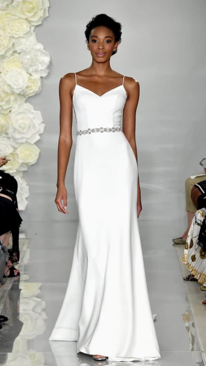 Silk spaghetti strap simple wedding dress