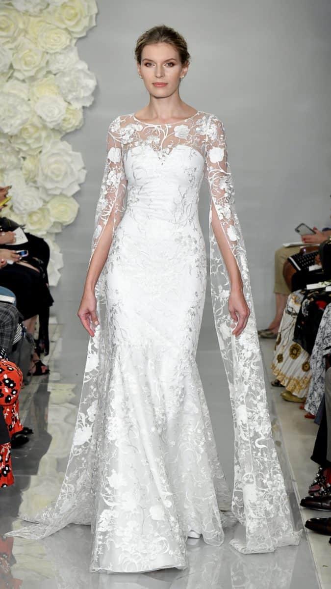 Theia lace cape wedding dress
