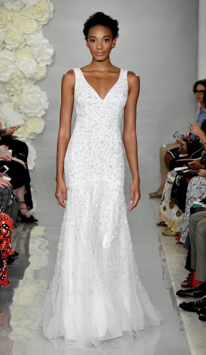 Verbena, ivory v neck sequin wedding dress by Theia