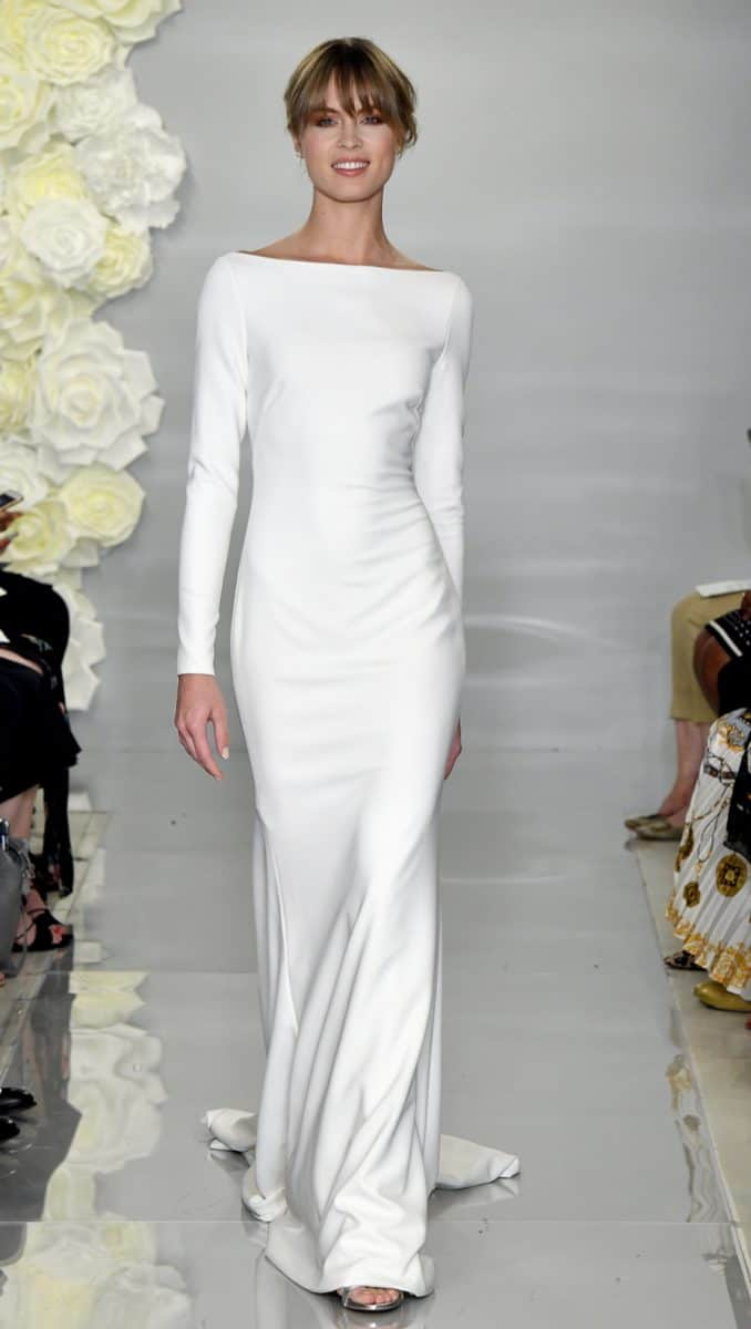 Long sleeve boat neck wedding dress 'Flora' by Theia Bridal
