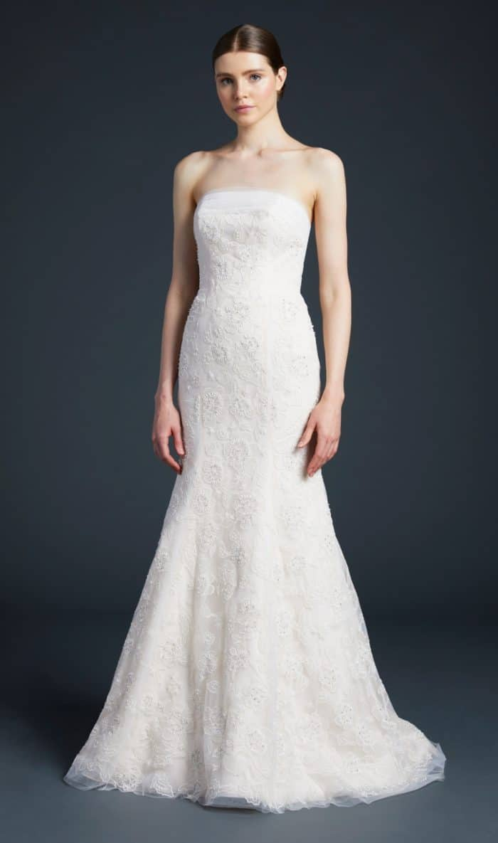 Anne Barge strapless lace wedding dress | Palladio
