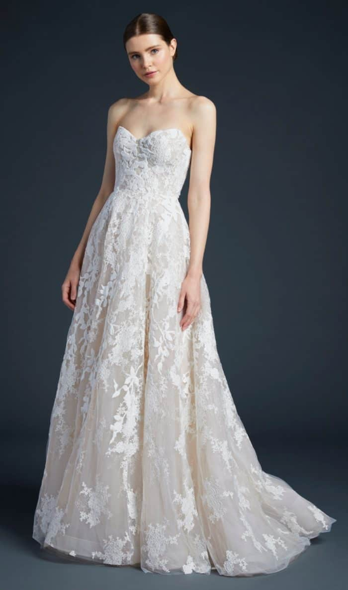 Anne Barge lace strapless wedding dress | Luca