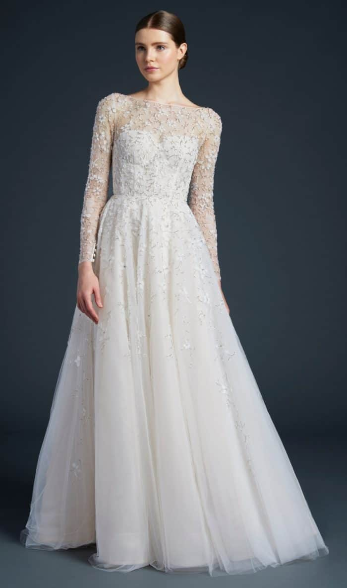 Long sleeve lace wedding dress by Anne Barge | Eames