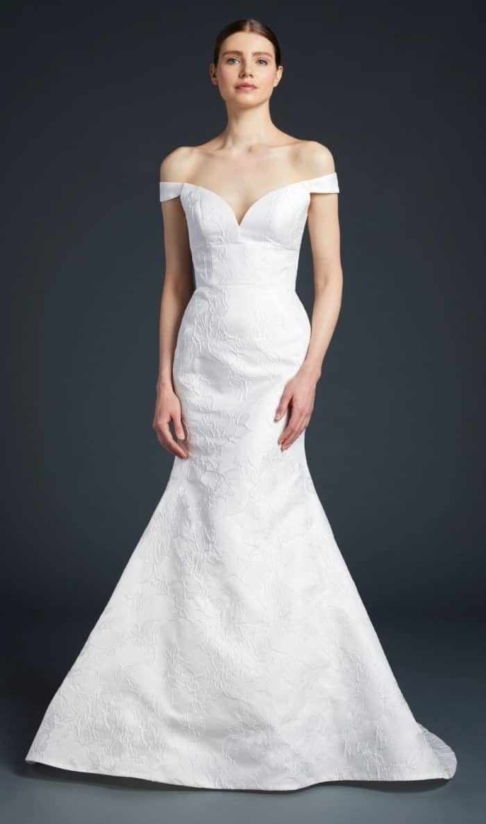 Anne Barge wedding dress off the shoulder gown | Frankie