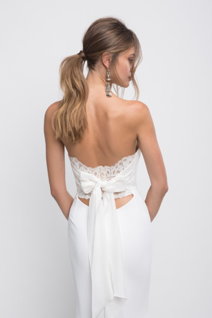 Bow back strapless wedding dress Brooklyn