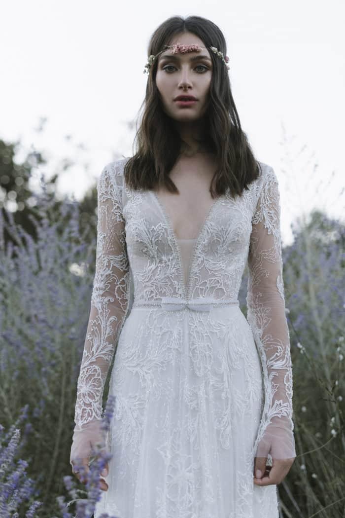 Long sleeve Lihi Hod wedding dress