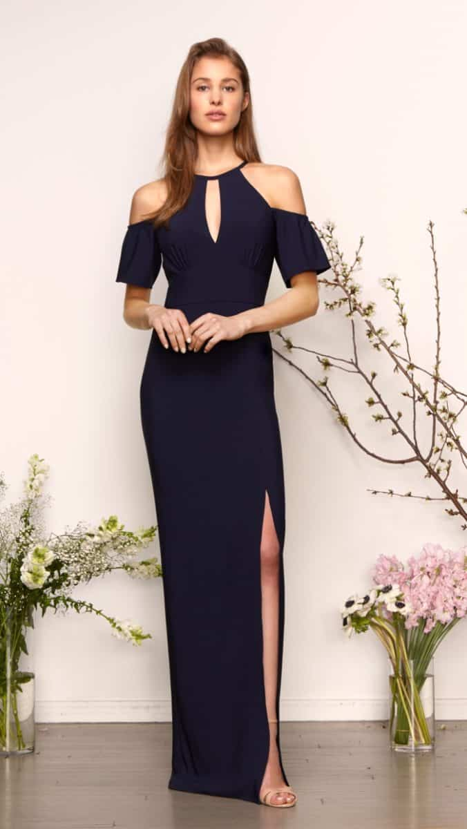 Monique Lhuillier bridesmaid dresses Spring 2019 | Aria | Shoulder Cutout bridesmaid dress