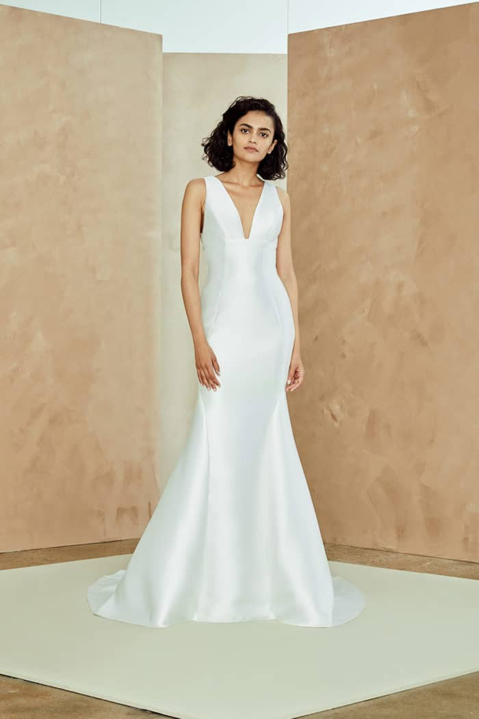 Modern v neck wedding dress by Nouvelle Amsale