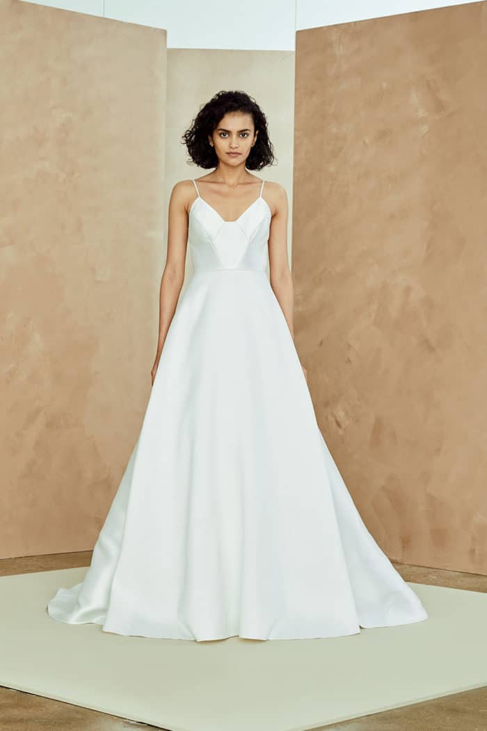 Celeste gown by Nouvelle Amsale Spring 2019 | Celeste, a spaghetti strap ballgown wedding dress.