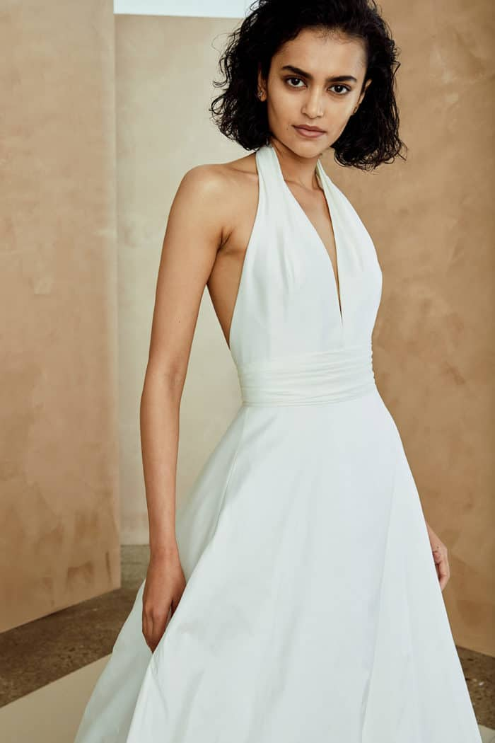 Modern v neck wedding gown by Nouvelle Amsale