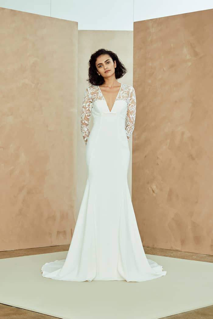 V neck long sleeve lace wedding dress | Juilanna by Nouvelle Amsale Spring 2019