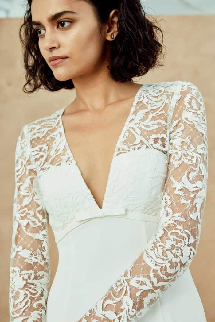 Plungeing neck long sleeve lace wedding dress | Juilanna by Nouvelle Amsale Spring 2019