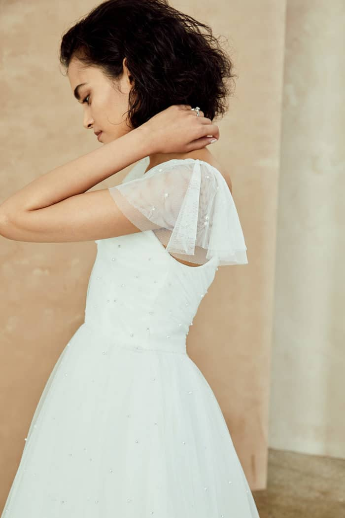 Pearl tulle ball gown by Nouvelle Amsale