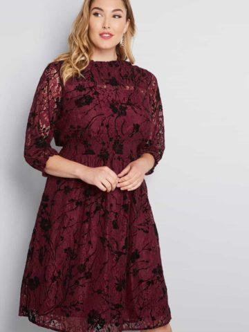 Burgundy long sleeve dress for wedding guest