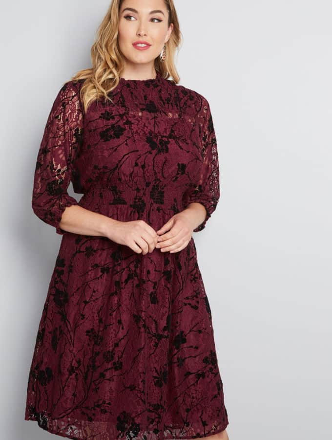 Burgundy long sleeve dress for wedding guest