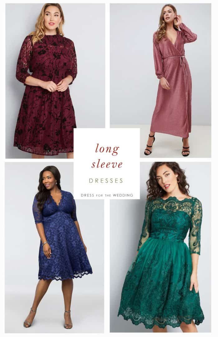 Long sleeve dresses for wedding guests