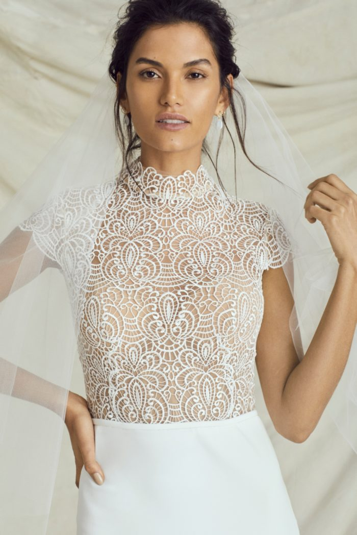 Sheer bodice high neck wedding gown | Adair by Kelly Faetanini Fall 2019 Bridal Collection