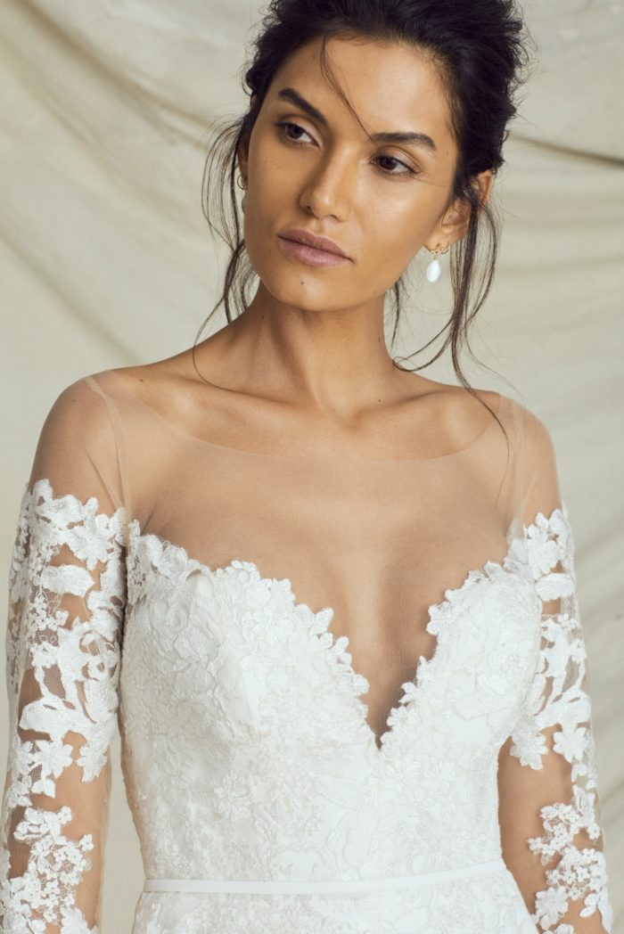 Off the shoulder wedding dress with long lace sleeves and plung neckline | Kelly Faetanini Fall 2019 Bridal Collection