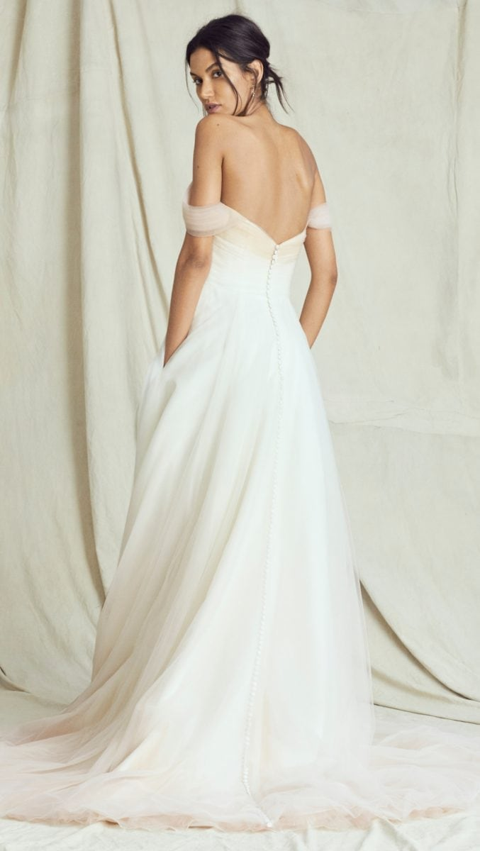 Blush ombre wedding dress Ferrah back detail Kelly Faetanini Fall 2019 Bridal Collection