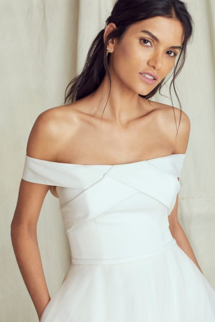 Off the shoulder ball gown wedding dress by Kelly Faetanini Fall 2019 Bridal Collection