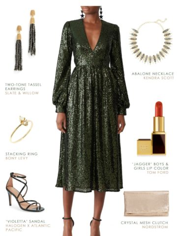 Holiday party outfit 2018 Green sequin dress with long sleeves