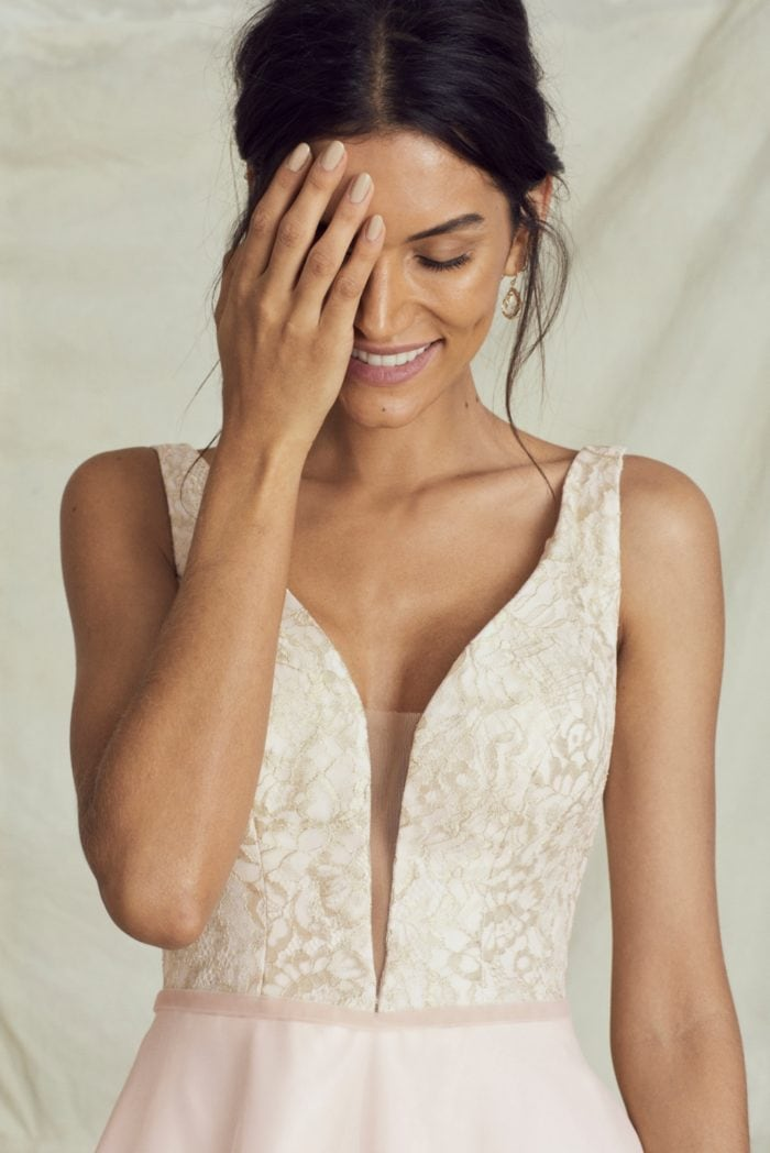 Sicilia blush and gold plunge neck wedding dress by Kelly Faetanini Fall 2019