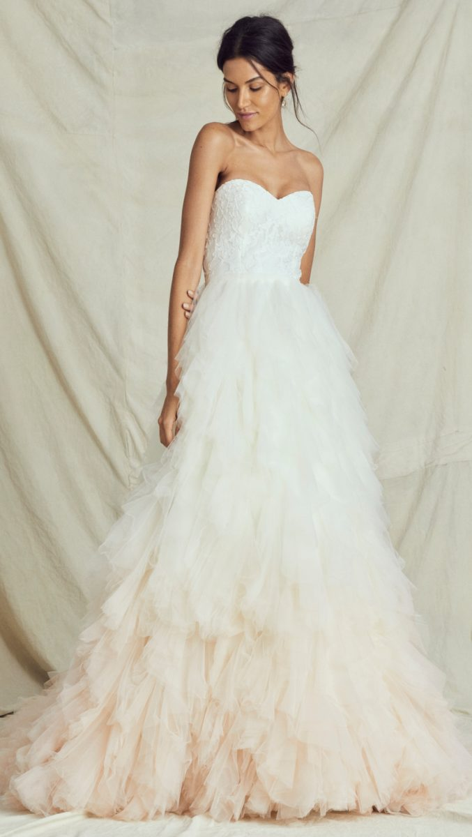 Blush Ombré tulle ball gown wedding dress with lace bodice Kelly Faetanini Fall 2019 Bridal Collection